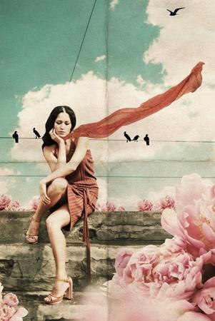 beauty young woman, vintage collage Zdjęcie Seryjne