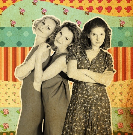 art collage with three women, vintage background photo