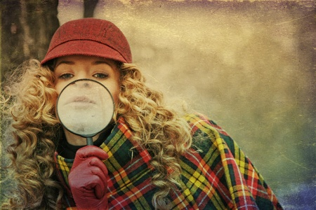 young beauty woman with magnifier glass and hat, vintage Stock Photo