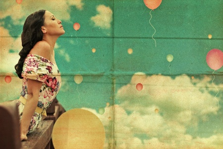 beauty young woman on sky, air balls, vintage collage