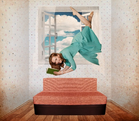 beautiful woman fly in vintage room, collage photo