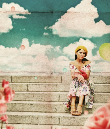 beauty young woman in perfect dress, vintage collage