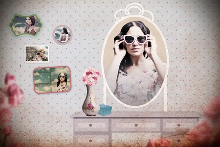 pin up vintage: collagw vintage in stanza con specchio, texture arte