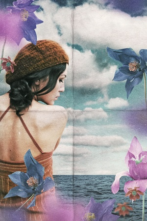 vintage collage with beauty woman in flowers, retro pattern Stock Photo