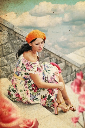 beauty young woman in perfect dress, vintage collage Stock Photo - 9775084