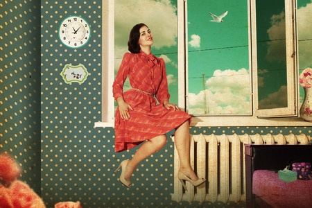 beautiful young woman in retro room, vintage pattern Stock Photo - 9775085