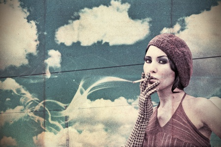 beuty young smoking woman, vintage collage