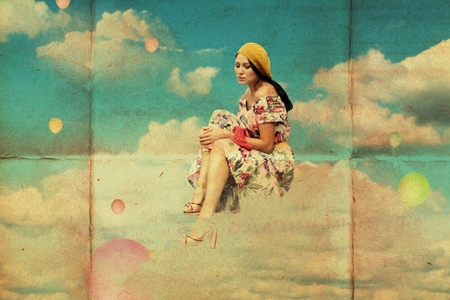 beauty woman fly in clouds, vintage collage photo