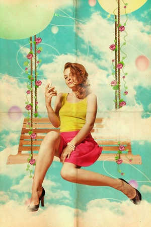 beautiful young woman in clouds, vintage collage photo