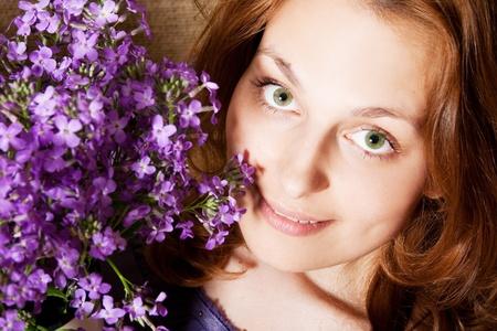 portrait of beautiful woman in fairy flowers Stock Photo - 9877827