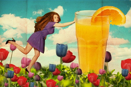vintage collage with beautiful woman with orange fresh Stock Photo