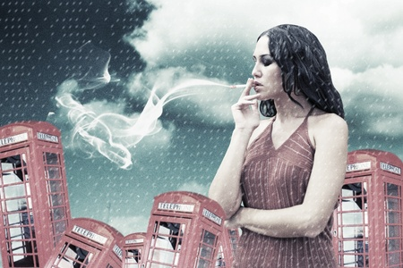 beauty young woman smoking, collage photo