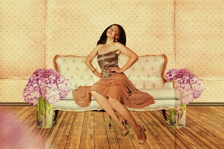 beautiful woman in room with flowers, vintage pattern Stock Photo - 9877894