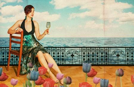 beautiful woman in blue dress near the sea, vintage pattern