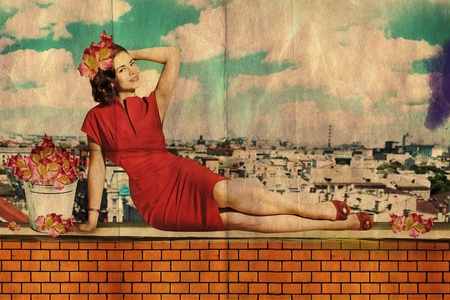 beautiful young woman in red dress on roof, vintage collage photo