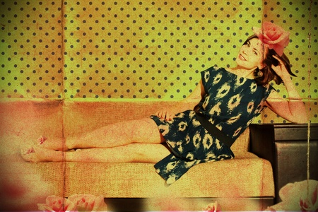 beautiful woman in retro room with fashion clothes, vintage pattern photo