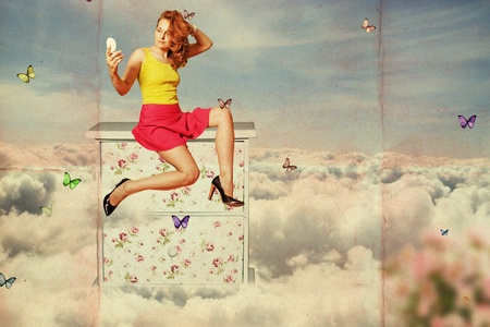 art collage. beauty woman on the sky, in clouds with butterfly