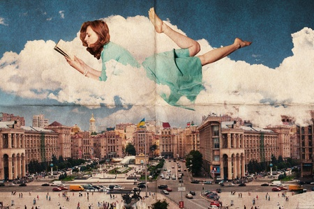 beautiful woman in the clouds over city, vintage texture