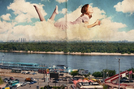 beautiful woman in the clouds over city, vintage texture photo