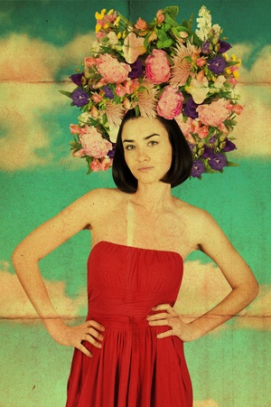vintage pin up: vintage collage with beatiful young women in red dress, grunge, dirty Stock Photo
