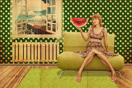 beautiful young woman in room, vintage pattern Stock Photo
