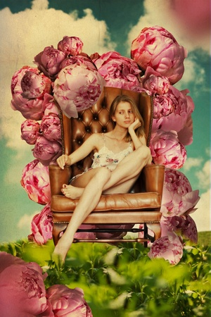 beautiful young woman in garden, art collage photo