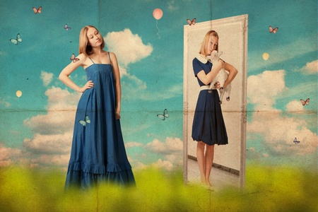 mirror image: art collage with beautiful young woman, retro image Stock Photo
