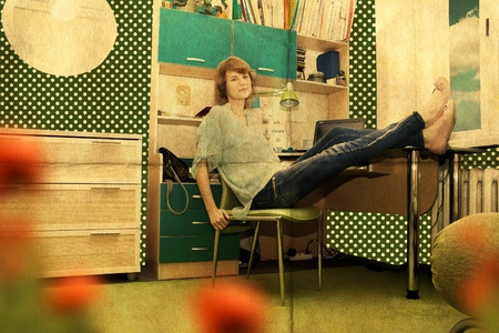 beautiful young woman in room, vintage pattern photo