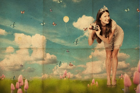 art collage with beautiful young woman, vintage pattern photo