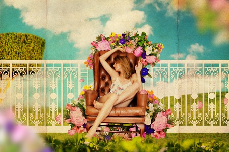 art collage with beautiful young woman in garden, vintage pattern photo