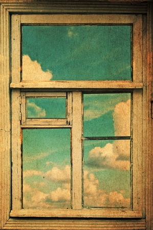 retro image with window, vintage