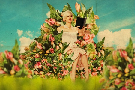 collage people: beautiful woman with book in garden, art collage Stock Photo
