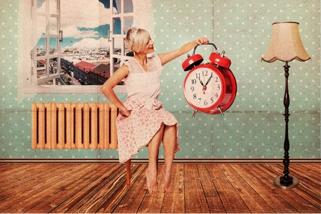 beautiful woman in room with clock, art collage photo