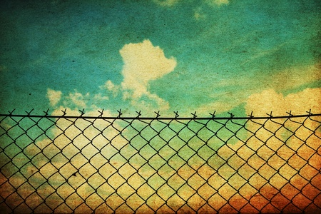 enclose: vintage image with fence netting