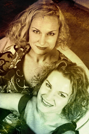 vintage image with two beauty young women, retro texture photo
