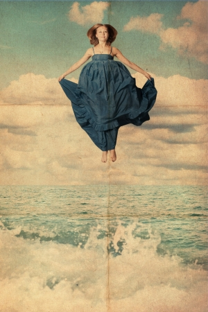 beauty young woman jump from sky in water, vintage art collage photo