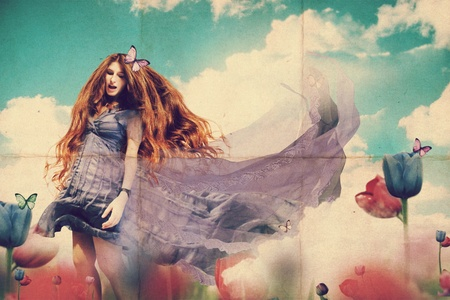art collage with beautiful woman, retro texture photo