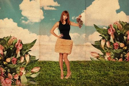 pin up vintage: collage arte con la bella donna, texture retro Archivio Fotografico