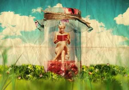 art collage: beautiful woman with book, grunge texture, vintage photo