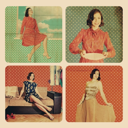 collage with beautiful woman in retro room photo