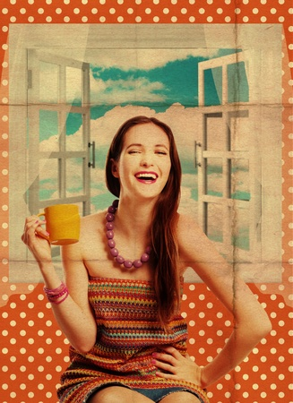beauty young woman with yellow cup, art collage photo
