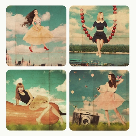 vintage grunge image: collage arte con la bella donna, retro