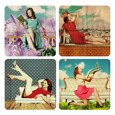 collage with beautiful woman, vintage Stock Photo - 12961702