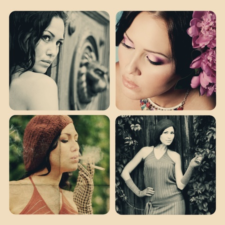 art collage with beautiful woman photo