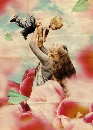 art collage with mother and son, vintage photo
