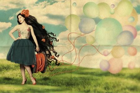 pin up vintage: collage arte con la bella donna, retro
