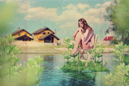 art collage with beautiful woman, vintage style photo