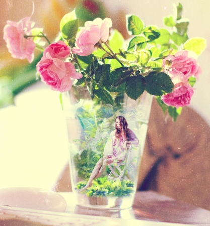 Bunch of roses in vase, art photo