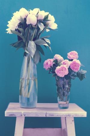 Bunch of peonies in vase, art Stock Photo - 14064483