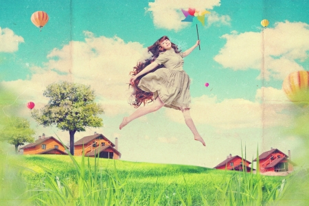 art collage with beautiful young woman in jump, vintage photo